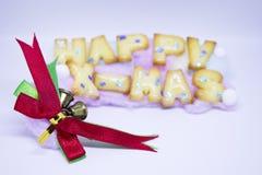 Feliz Año Nuevo y Feliz Navidad con el arco Foto de archivo