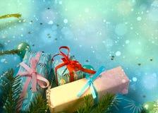 Feliz Año Nuevo y Feliz Navidad Fondo Fotos de archivo