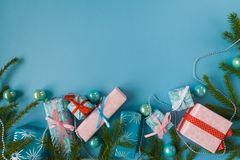 Feliz Año Nuevo y Feliz Navidad Fondo Foto de archivo libre de regalías