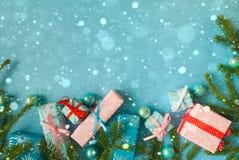 Feliz Año Nuevo y Feliz Navidad Fondo Fotografía de archivo libre de regalías