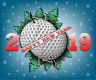 Feliz Año Nuevo 2019 y pelota de golf ilustración del vector