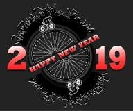 Feliz Año Nuevo 2019 y rueda de coche libre illustration