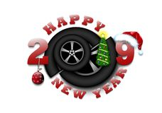 Feliz Año Nuevo 2019 y rueda de coche ilustración del vector