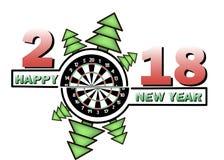 Feliz Año Nuevo y tablero de dardos ilustración del vector