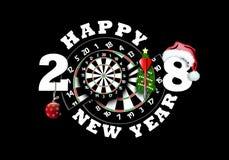 Feliz Año Nuevo y tablero de dardos stock de ilustración