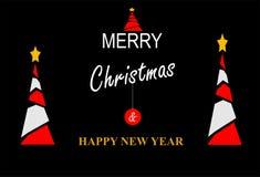 Feliz Año Nuevo y tarjeta de Navidad ilustración del vector