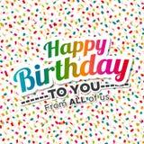 Feliz aniversário cartão colorido com confetes Fotos de Stock Royalty Free
