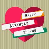 Feliz aniversário cartão com coração, fitas, rotulando Texto simples Imagem de Stock