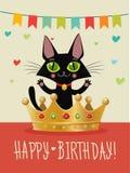 Feliz aniversário Cartão do feliz aniversario com Cat And Gold Crown preta engraçada Desejo e humor Fotografia de Stock Royalty Free