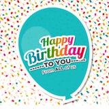 Feliz aniversário com cartão do balão Imagem de Stock Royalty Free
