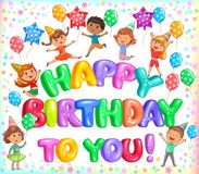 Feliz aniversário letteers coloridos e crianças bonitos Imagens de Stock