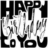 Feliz aniversário Moderno seque a rotulação da escova para o convite e o cartão, as cópias e os cartazes handwritten Imagem de Stock