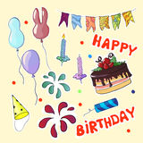 Feliz aniversario ajustado no estilo dos desenhos animados Ilustração do vetor Fotos de Stock Royalty Free
