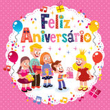Feliz Aniversario Brazilian Portuguese Happy Birthday Stock Photography