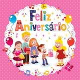 Feliz Aniversario Brazilian Portuguese Happy födelsedag Arkivbild