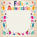 Feliz Aniversario Brazilian Portuguese Happy födelsedagkort Royaltyfria Bilder