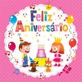 Feliz Aniversario Brazilian Portuguese Happy-Glückwunschkarte Stockbild