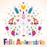 Feliz Aniversario Brazilian Portuguese Happy-Verjaardag Royalty-vrije Stock Foto