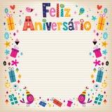 Feliz Aniversario Brazilian Portuguese Happy-Verjaardagskaart Royalty-vrije Stock Afbeeldingen