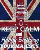 Feliz aniversario, cartão, bolo de aniversário Imagem de Stock