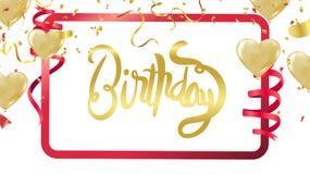 Feliz aniversario Cartão bonito tex riscado da caligrafia ilustração do vetor