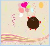 Feliz aniversario. cartão com um monstro pequeno. vetor Fotos de Stock Royalty Free