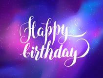 Feliz aniversario! Cartão da galáxia Vetor co colorido brilhante ilustração royalty free