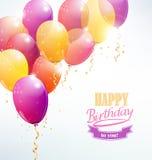 Feliz aniversario com cartão do balão Fotografia de Stock