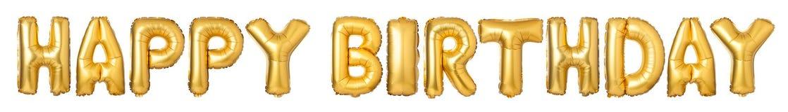FELIZ ANIVERSARIO de letras de caixa dos balões dourados Fotografia de Stock Royalty Free