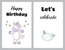 Feliz aniversario Deixe o ` s comemorar ilustração stock