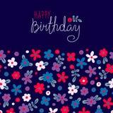 Feliz aniversario do cartão com flores bonitos Foto de Stock