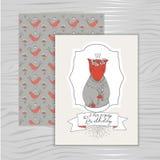 Feliz aniversario do cartão com uma raposa ilustração royalty free