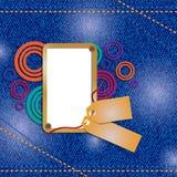 Feliz aniversario do cartão da sarja de Nimes Frame da foto Imagem de Stock Royalty Free