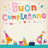 Feliz aniversario do compleanno de Buon no italiano Foto de Stock Royalty Free
