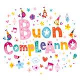Feliz aniversario do compleanno de Buon no italiano Fotos de Stock Royalty Free