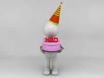 feliz aniversario do homem 3D Imagens de Stock Royalty Free