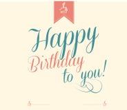 Feliz aniversario do vintage tipográfico Fotografia de Stock Royalty Free