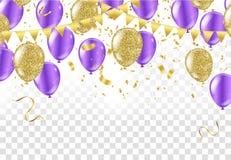 Feliz aniversario dos balões coloridos no fundo Vetor imagem de stock royalty free