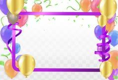 Feliz aniversario dos balões coloridos no fundo Vetor ilustração stock