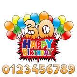 Feliz aniversario e números Fotografia de Stock Royalty Free