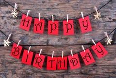 Feliz aniversario em etiquetas vermelhas Fotos de Stock Royalty Free