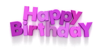 Feliz aniversario em letras cor-de-rosa e roxas