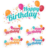 Feliz aniversario feliz com confetes e balões Fotos de Stock Royalty Free
