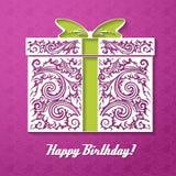 Feliz aniversario! Fundo decorativo da celebração com caixa de presente Imagem de Stock