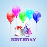 Feliz aniversario Ilustração de uma caixa de presente e Imagem de Stock Royalty Free