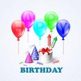 Feliz aniversario Ilustração de uma caixa de presente e Fotos de Stock Royalty Free