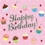 Feliz aniversario! - ilustração do cartão de aniversário Imagem de Stock Royalty Free