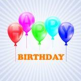 Feliz aniversario Ilustração dos balões com Imagens de Stock Royalty Free