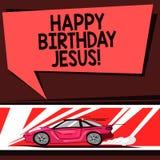 Feliz aniversario Jesus do texto da escrita da palavra Conceito do negócio para comemorar o nascimento do carro santamente do dia ilustração do vetor