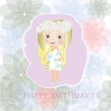 Feliz aniversario - menina feericamente pequena doce Fotografia de Stock Royalty Free